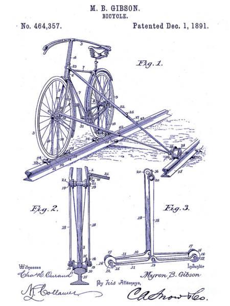 Vintage Patent Drawing - 1891 Bicycle Patent Blueprint by Jon Neidert