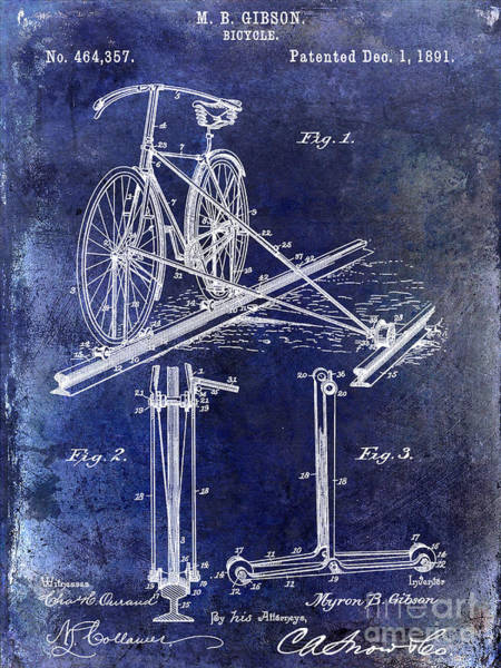 Vintage Patent Drawing - 1891 Bicycle Patent Drawing Blue by Jon Neidert