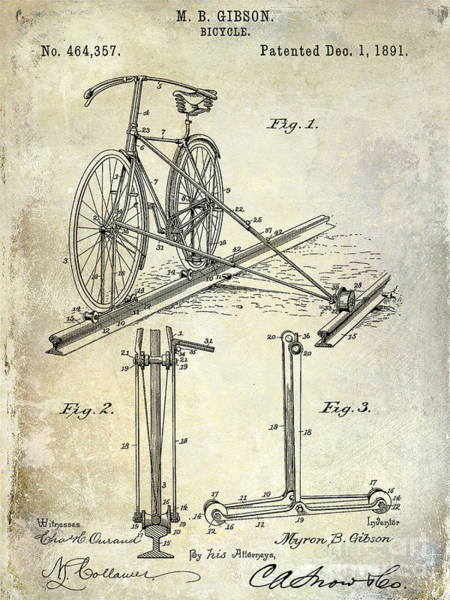 Vintage Patent Drawing - 1891 Bicycle Patent Drawing by Jon Neidert