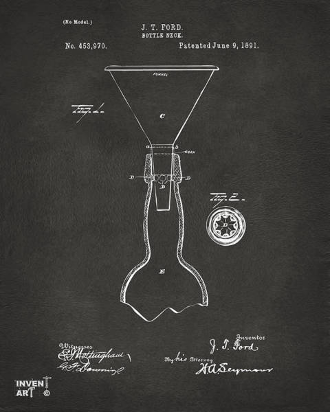 Brewery Digital Art - 1891 Bottle Neck Patent Artwork Gray by Nikki Marie Smith