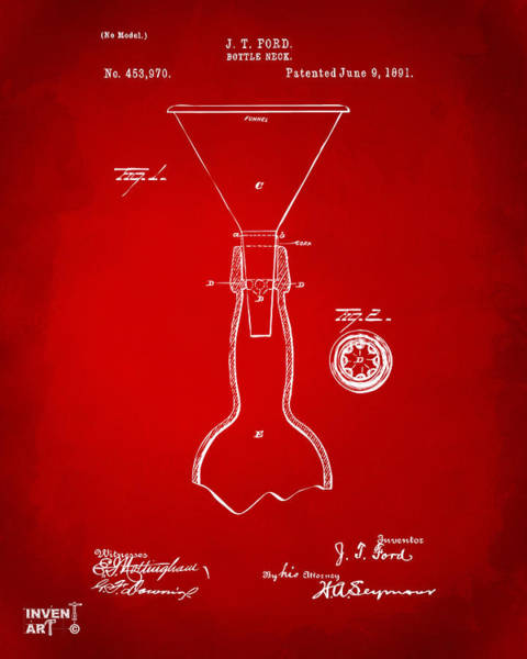 Brewery Digital Art - 1891 Bottle Neck Patent Artwork Red by Nikki Marie Smith