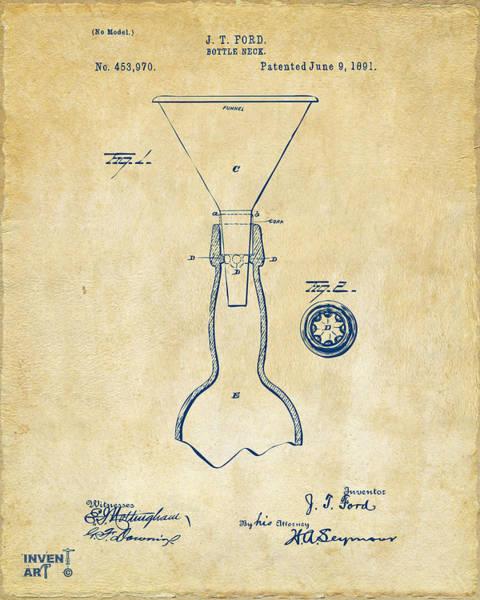 Wall Art - Digital Art - 1891 Bottle Neck Patent Artwork Vintage by Nikki Marie Smith