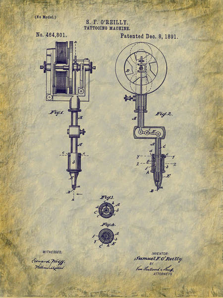 Digital Art - 1891 O'reilly Tattooing Machine Patent  by Barry Jones