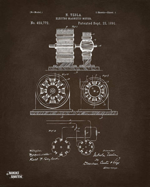Digital Art - 1891 Tesla Electro Magnetic Motor Patent Espresso by Nikki Marie Smith
