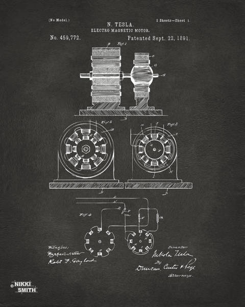 Electricity Digital Art - 1891 Tesla Electro Magnetic Motor Patent - Gray by Nikki Marie Smith