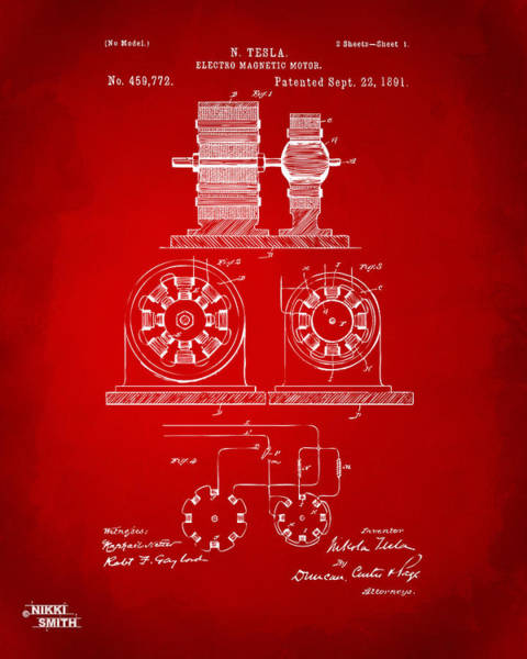 Electricity Digital Art - 1891 Tesla Electro Magnetic Motor Patent - Red by Nikki Marie Smith