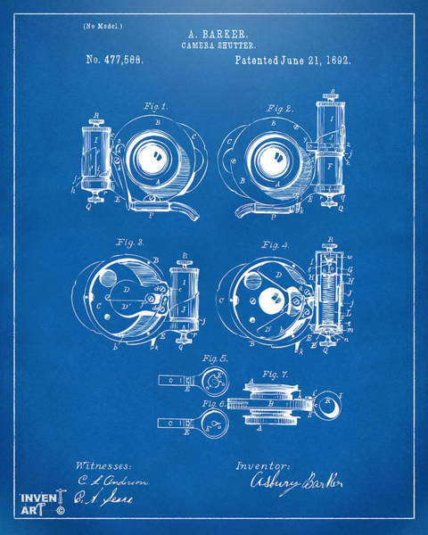 Digital Art - 1892 Barker Camera Shutter Patent Blueprint by Nikki Marie Smith