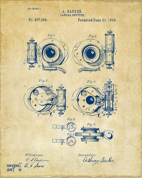 Digital Art - 1892 Barker Camera Shutter Patent Vintage by Nikki Marie Smith