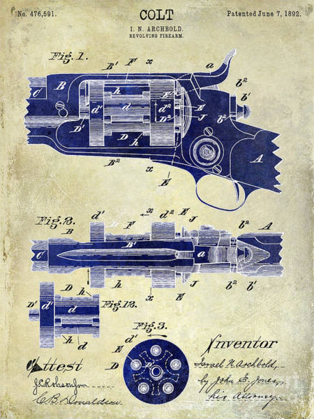 Revolver Photograph - 1892 Colt Patent Drawing 2 Tone by Jon Neidert