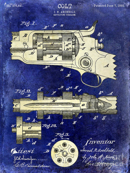 Revolver Photograph - 1892 Colt Patent Drawing Blue 2 Tone by Jon Neidert