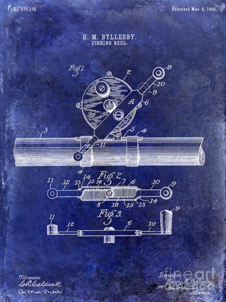 Redfish Lake Photograph - 1892 Fishing Reel Patent Drawing Blue by Jon Neidert