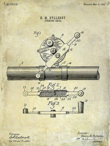 Redfish Lake Photograph - 1892 Fishing Reel Patent Drawing  by Jon Neidert