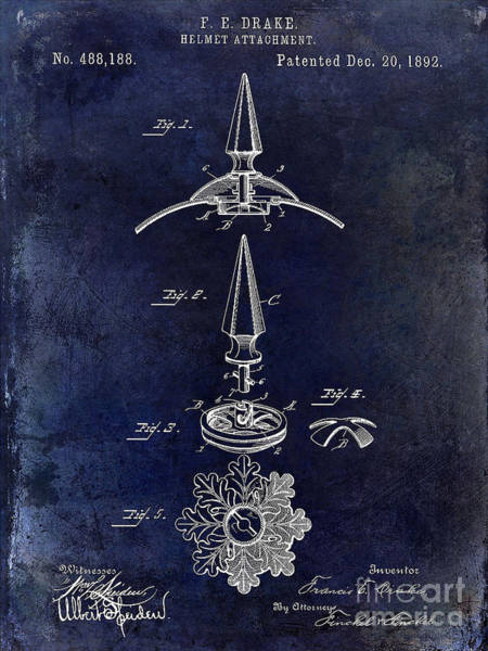 Victory Motorcycle Photograph - 1892 Motorcycle Helmet Spike Patent Drawing Blue by Jon Neidert