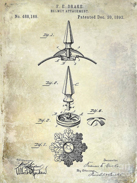 Victory Motorcycle Photograph - 1892 Motorcycle Helmet Spike Patent Drawing by Jon Neidert