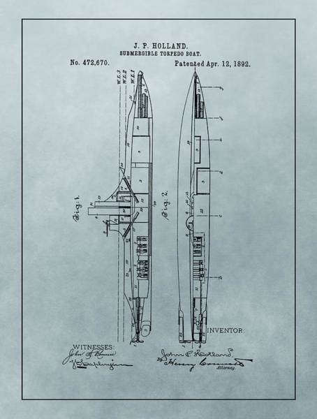 Wall Art - Mixed Media - 1892 Submarine Patent by Dan Sproul