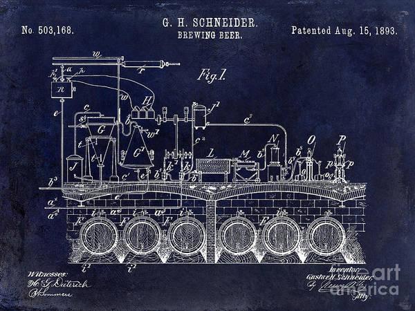 Wall Art - Photograph - 1893 Beer Brewing Patent Drawing Blue by Jon Neidert