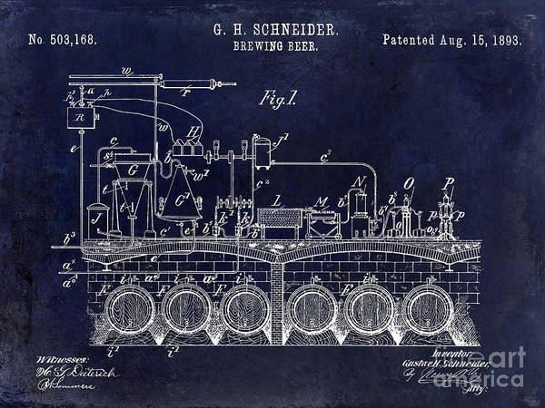 Brewing Wall Art - Photograph - 1893 Beer Brewing Patent Drawing Blue by Jon Neidert