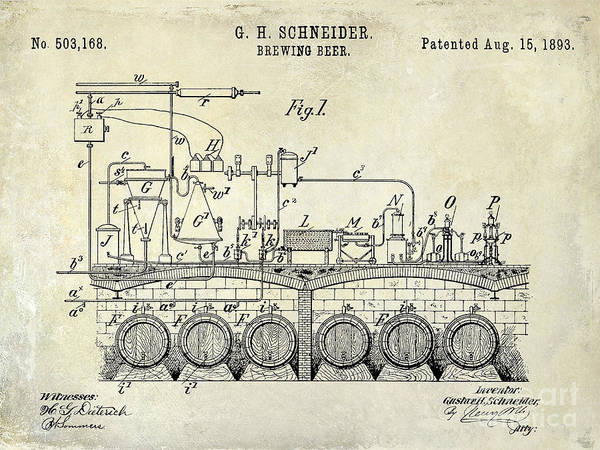 Brewing Photograph - 1893 Beer Brewing Patent Drawing by Jon Neidert