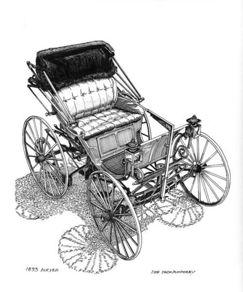 American Car Drawing - 1893 Duryea Motorwagon by Jack Pumphrey