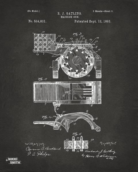 Weapons Digital Art - 1893 Gatling Machine Gun Feed Patent Artwork - Gray by Nikki Marie Smith