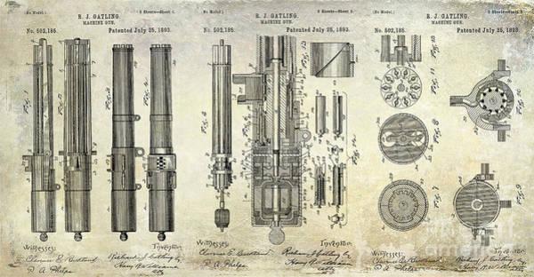 Wesson Photograph - 1893 Gatling Machine Gun Patent Drawing by Jon Neidert