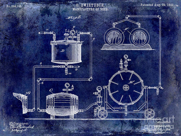Manufacture Wall Art - Photograph - 1893 Manufacture Of Beer Patent Drawing Blue by Jon Neidert