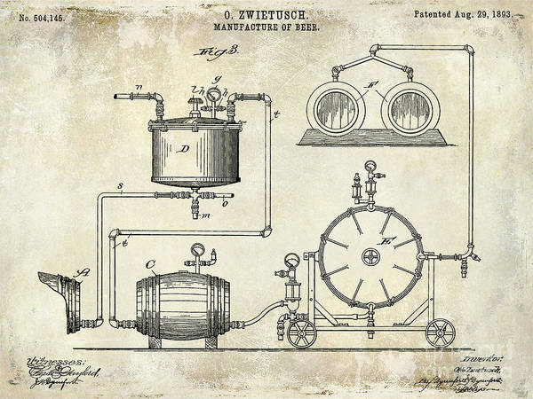 Manufacture Wall Art - Photograph - 1893 Manufacture Of Beer Patent Drawing by Jon Neidert