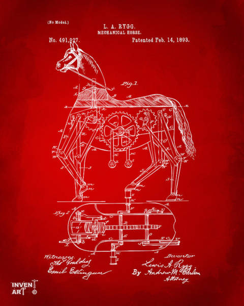 Wall Art - Digital Art - 1893 Mechanical Horse Toy Patent Artwork Red by Nikki Marie Smith