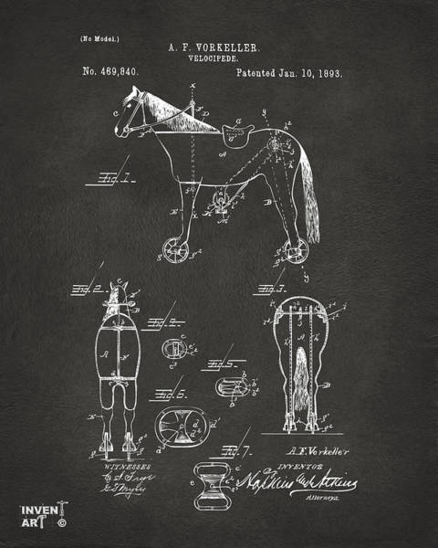 Wall Art - Digital Art - 1893 Velocipede Horse-bike Patent Artwork Gray by Nikki Marie Smith