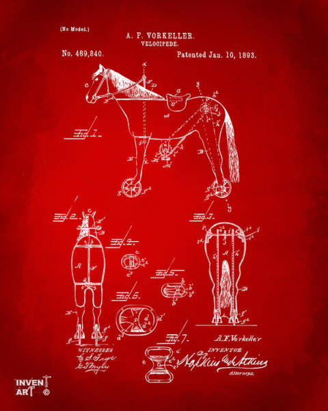 Wall Art - Digital Art - 1893 Velocipede Horse-bike Patent Artwork Red by Nikki Marie Smith