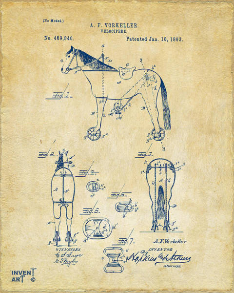 Wall Art - Digital Art - 1893 Velocipede Horse-bike Patent Artwork Vintage by Nikki Marie Smith