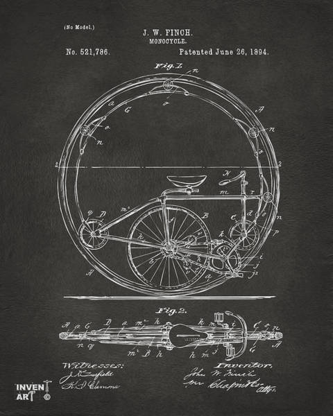 Digital Art - 1894 Monocycle Patent Artwork Gray by Nikki Marie Smith