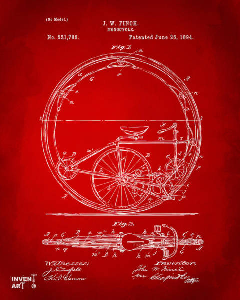 Digital Art - 1894 Monocycle Patent Artwork Red by Nikki Marie Smith