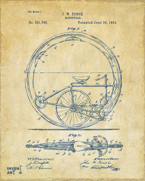 Digital Art - 1894 Monocycle Patent Artwork Vintage by Nikki Marie Smith