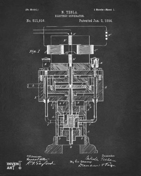 Digital Art - 1894 Tesla Electric Generator Patent Gray by Nikki Marie Smith