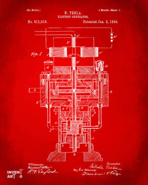 Digital Art - 1894 Tesla Electric Generator Patent Red by Nikki Marie Smith