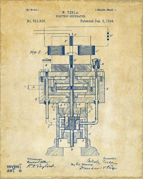 Wall Art - Digital Art - 1894 Tesla Electric Generator Patent Vintage by Nikki Marie Smith