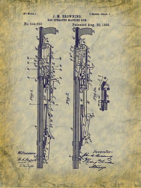 Digital Art - 1895 Browning Machine Gun Patent - Aka - Potato Digger by Barry Jones