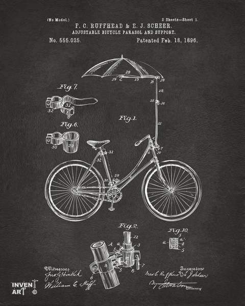 Digital Art - 1896 Bicycle Parasol Patent Artwork Gray by Nikki Marie Smith