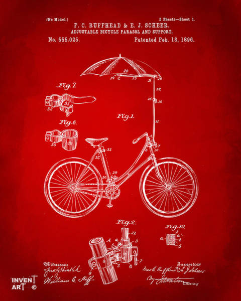Digital Art - 1896 Bicycle Parasol Patent Artwork Red by Nikki Marie Smith