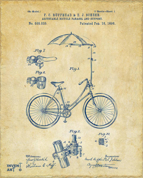Digital Art - 1896 Bicycle Parasol Patent Artwork Vintage by Nikki Marie Smith