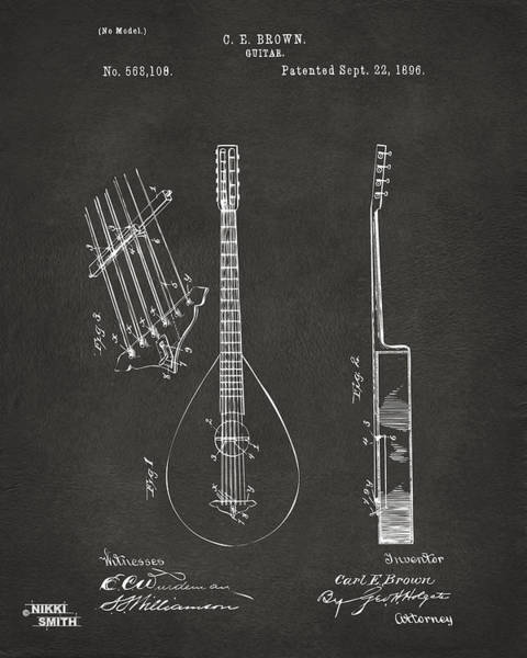Wall Art - Digital Art - 1896 Brown Guitar Patent Artwork - Gray by Nikki Marie Smith