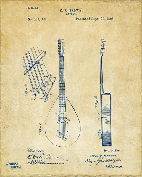 Drawing - 1896 Brown Guitar Patent Artwork - Vintage by Nikki Marie Smith