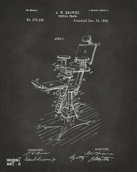 Digital Art - 1896 Dental Chair Patent Gray by Nikki Marie Smith
