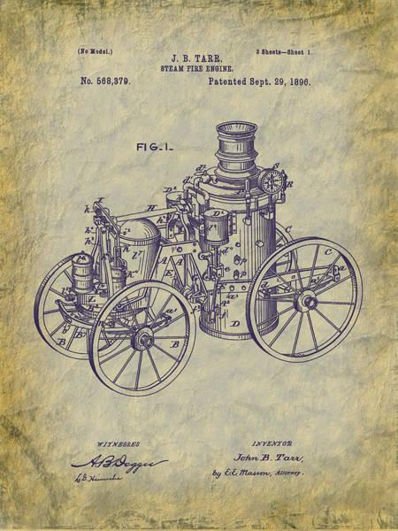 Digital Art - 1896 Tarr Steam Fire Engine Patent Art by Barry Jones