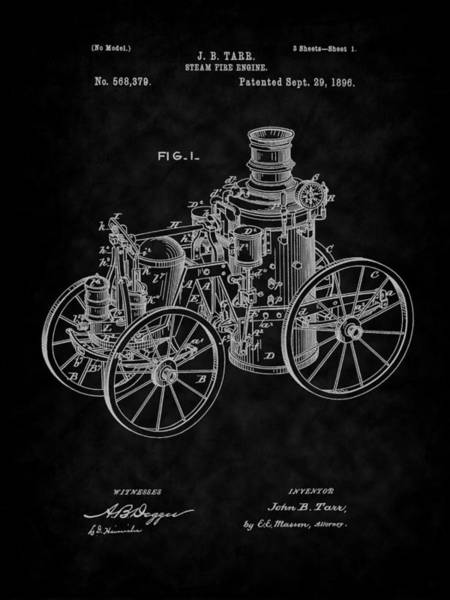 Digital Art - 1896 Tarr Steam Fire Engine Patent Art-bk by Barry Jones