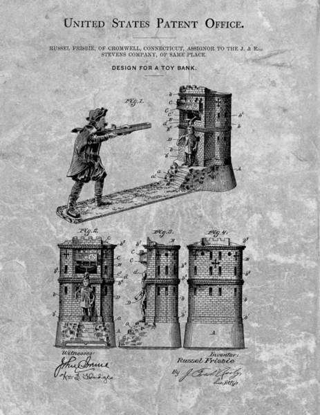 Drawing - 1896 Toy Bank Patent Charcoal by Dan Sproul