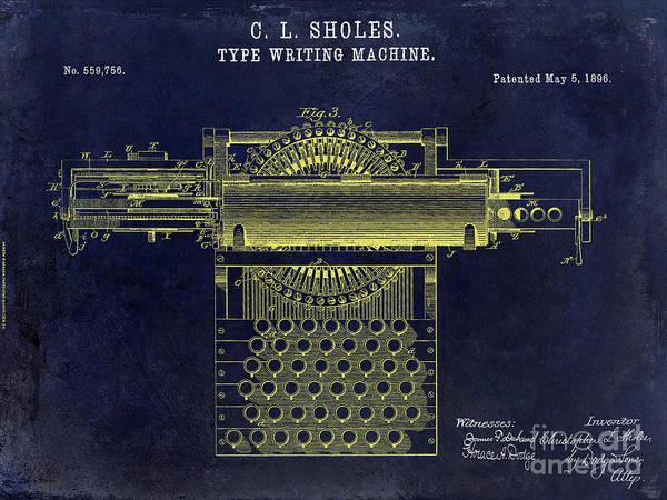 1896 Photograph - 1896 Type Writer Patent Drawing Blue by Jon Neidert