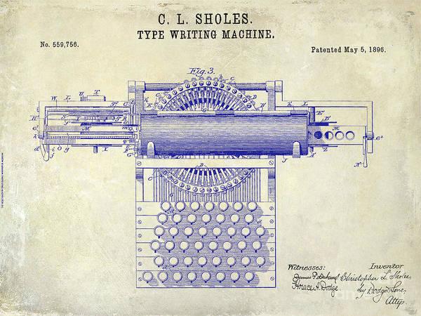 1899 Photograph - 1896 Type Writer Patent Drawing by Jon Neidert