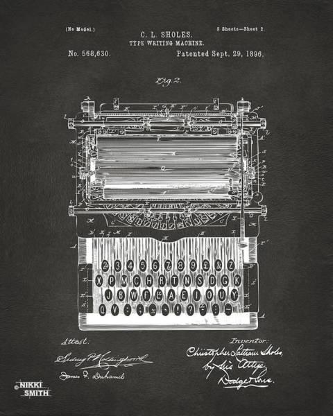 Wall Art - Digital Art - 1896 Type Writing Machine Patent Artwork - Gray by Nikki Marie Smith
